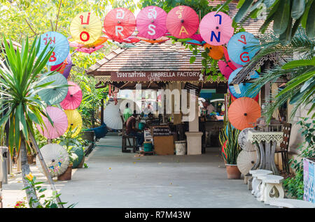 Bor Sang Umbrella Village entrance near Chiang Mai, Thailand - Stock Photo