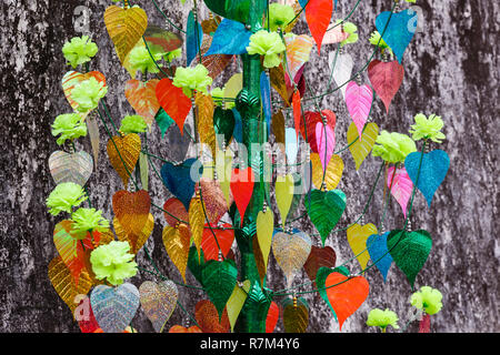 colorful leaves of the bodhi tree on a gray wall background - Stock Photo