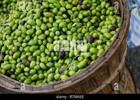 Green olives for sale in mediterranean market displayed in wooden basket - Stock Photo