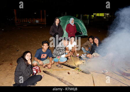 a group of happy young friends relaxing and enjoying summer evening around campfire on the beach - Stock Photo