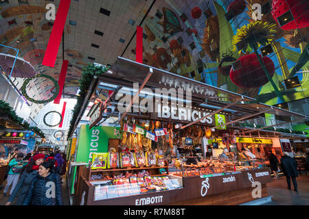 Ibericus delicatessen inside  modern residential and commercial property development, Markthal , Market Hall, in Rotterdam, The Netherlands - Stock Photo