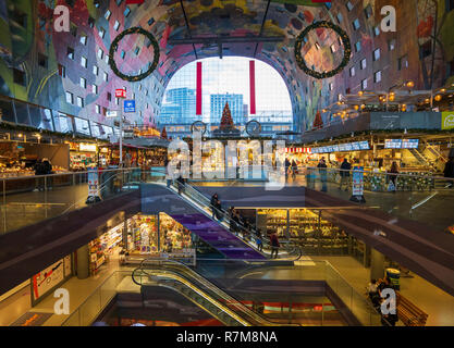 The modern residential and commercial property development, Markthal , Market Hall, in Rotterdam, The Netherlands - Stock Photo