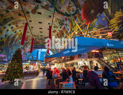Pinchos tapas bar inside modern residential and commercial property development, Markthal , Market Hall, in Rotterdam, The Netherlands - Stock Photo