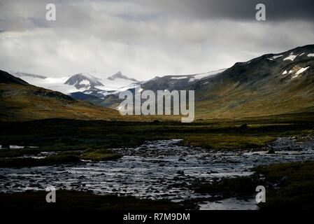 Norway, Oppland, Vaga, Jotunheimen National Park, landscape near Glittertinden (Glittertind), the second highest mountain in Norway at 2465m above sea level - Stock Photo