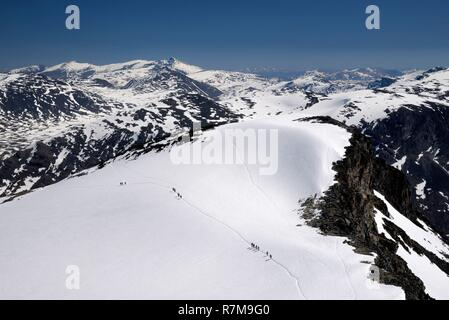 Norway, Oppland, Vaga, Jotunheimen National Park, trekkers climbing Galdhopiggen, the tallest mountain in Norway and Scandinavia at 2469m - Stock Photo