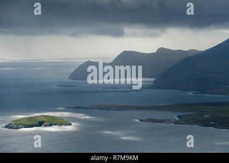 Republic of Ireland, County Mayo, Achill Island, view of the cliffs - Stock Photo