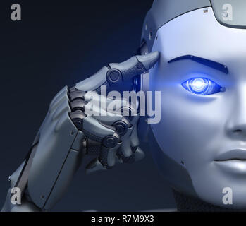 Cyborg holds a finger near the head. 3D illustration - Stock Photo