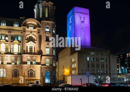 Mersey Docks and Harbour Board Building on left, on the right is the Queensway Tunnel Ventalation Shaft Building. Image taken in December 2018. - Stock Photo