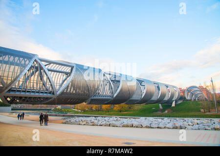 Bridge by Perrault. Madrid Rio park, Madrid, Spain. - Stock Photo