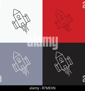 space craft, shuttle, space, rocket, launch Icon Over Various Background. Line style design, designed for web and app. Eps 10 vector illustration - Stock Photo