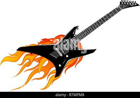 vector illustration guitar with flames and fire - Stock Photo