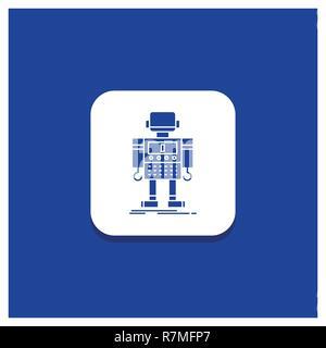 Blue Round Button for autonomous, machine, robot, robotic, technology Glyph icon - Stock Photo