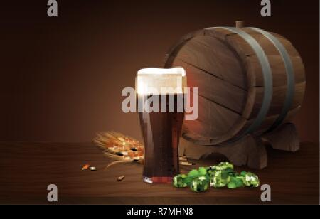 Dark porter beer in glass cup and wood barrel with wheat and hops, refreshing drink with white foam in 3d illustration, splashing beer vector illustration - Stock Photo