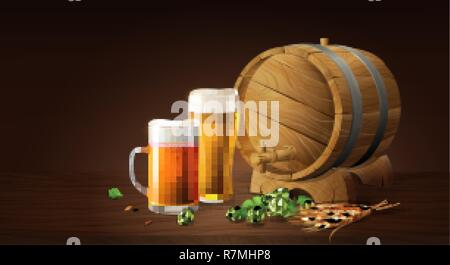 lager beer in glass cup and wood barrel with wheat and hops, refreshing drink with white foam in 3d illustration, splashing beer vector illustration - Stock Photo