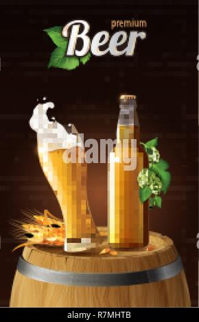 light lager beer in glass cup and glass bottle on wood barrel with wheat, refreshing drink with white foam in 3d illustration, splashing beer vector illustration - Stock Photo