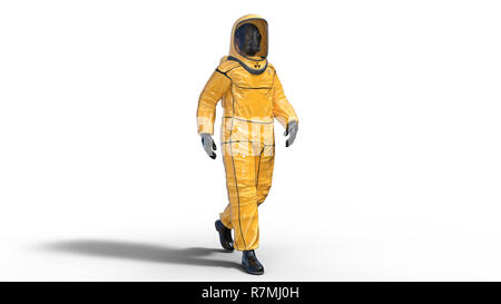 Man wearing biohazard protective outfit, human with gas mask dressed in hazmat suit for toxic and chemicals protection, 3D rendering - Stock Photo