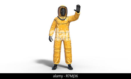 Man in biohazard protective outfit waving, human with gas mask dressed in hazmat suit for toxic and chemicals protection, 3D rendering - Stock Photo
