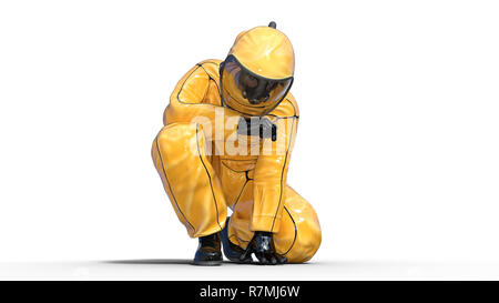 Man wearing protective hazmat suit crouching, human with gas mask dressed in biohazard outfit for chemical and toxic protection, 3D rendering - Stock Photo