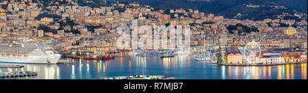 Panoramic view of Genova harbour, Liguria, Italy - Stock Photo