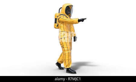 Man wearing protective hazmat suit pointing, human with gas mask dressed in biohazard outfit for chemical and toxic protection, 3D rendering - Stock Photo