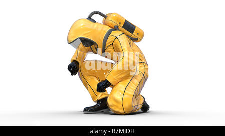 Man in biohazard protective outfit kneeling, human with gas mask dressed in hazmat suit for toxic and chemicals protection, 3D rendering - Stock Photo