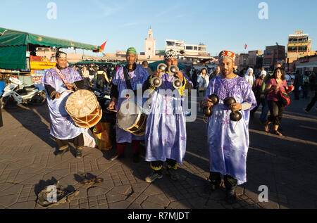 Marrakech music - musicians performing in traditional costume, Djemaa el Fna square Marrakesh, Morocco North Africa - Stock Photo