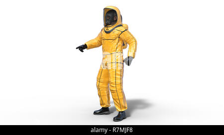 Man in biohazard protective outfit pointing, human with gas mask dressed in hazmat suit for toxic and chemicals protection, 3D rendering - Stock Photo