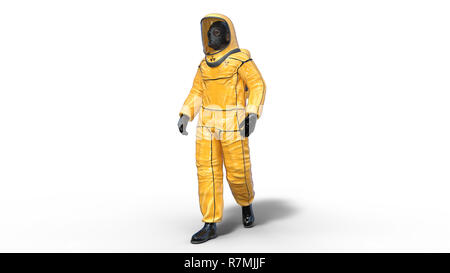 Man wearing yellow protective hazmat suit, human with gas mask dressed in biohazard outfit for chemical and toxic protection, 3D rendering - Stock Photo