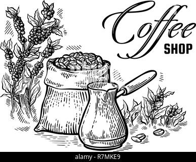 coffee beans in full bag and coffeepot in graphic style vector illustration - Stock Photo