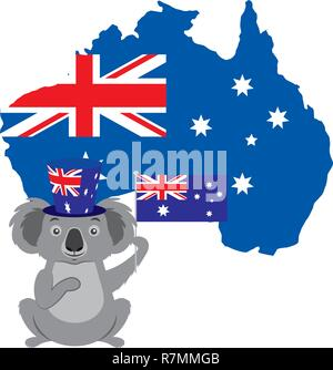 koala with hat australian flag map - Stock Photo