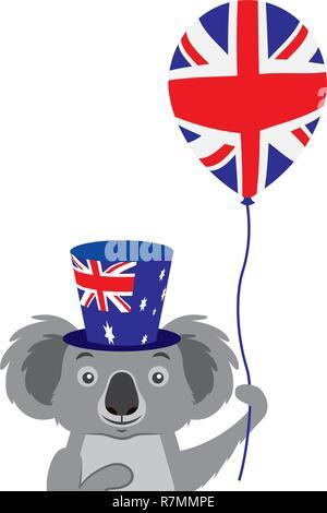 koala with hat and balloon australian celebration - Stock Photo