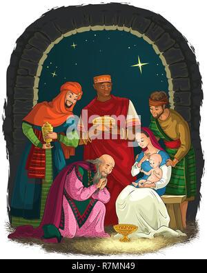 Christmas Nativity Scene with Jesus, Mary, Joseph and Three Kings - Wise Men - Stock Photo