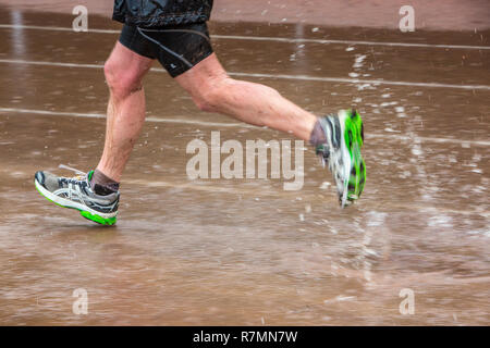 Sports field in the rain, man running through puddles of water, Germany - Stock Photo