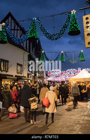 Crowds at the Victorian Christmas Market and lights, Henley Street, Stratford upon Avon, England - Stock Photo