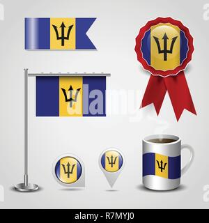 Barbados Country Flag place on Map Pin, Steel Pole and Ribbon Badge Banner - Stock Photo