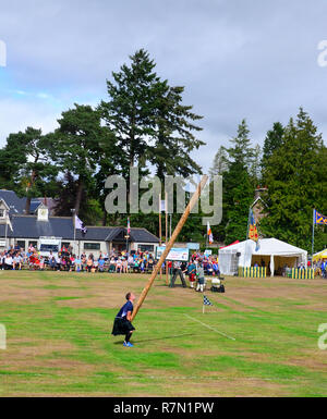 Man Tossing the caber at the highland games event  of 2018 at Aboyne, , Scotland - Stock Photo