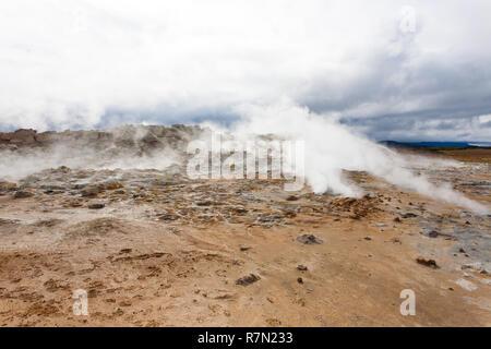 Hverir mud pools view, Iceland landmark. Icelandic landscape - Stock Photo