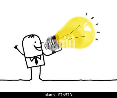 Hand drawn Cartoon man Using a Big light Bulb as a Loudhailer - Stock Photo