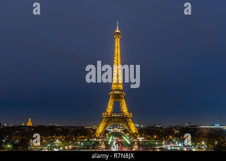 Eiffel Tower at night, Paris, France - Stock Photo