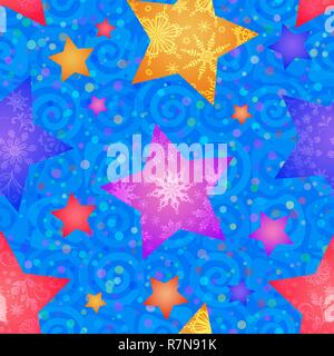 Christmas Seamless Blue Pattern for Holiday Design Colorful Stars with Flowers and Snowflakes on Tile Background with Spirals. Vector - Stock Photo