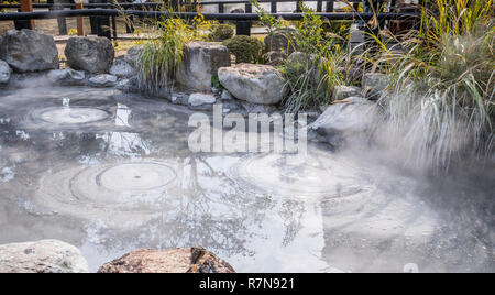 Oniishibozu Jigoku (Ghost Rock Monk Hell) pond in autumn, which is one of the famous natural hot springs viewpoint, representing the various hells in  - Stock Photo
