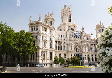 Madrid City Hall (Palacio de las Comunicaciones) in the Plaza de Cibeles - Stock Photo