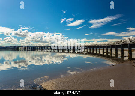 Wide angle view of the Tay Railway Bridge at low tide, from the north-east. - Stock Photo