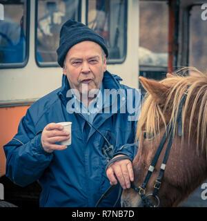 Portrait of Icelandic Farmer, Landmannalaugar Central Highlands, Iceland - Stock Photo