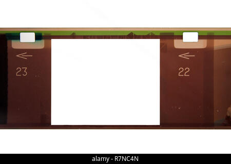 35mm negative filmstrip frame isolated on a white background - Stock Photo