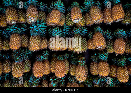 Colombo, Sri Lanka, 02/16/2014: pineapples for sale on the street in the city of Colombo - Stock Photo