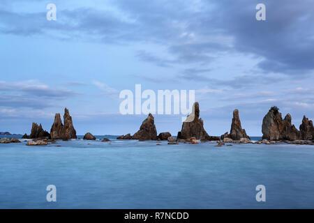 Dawn at Hashi-gui-iwa rocks coastline, Kushimoto, Wakayama Prefecture, Japan. - Stock Photo
