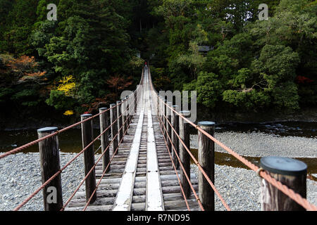 Mother and son standing on a wooden suspension bridge, Wakayama, Japan - Stock Photo