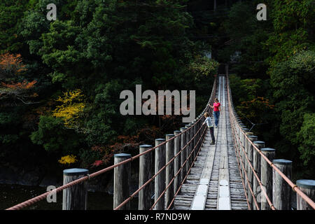 Mother and son walking on a wooden suspension bridge, looking down to the river, Wakayama, Japan - Stock Photo