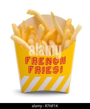 Box of French Fries Isolated on White Background. - Stock Photo